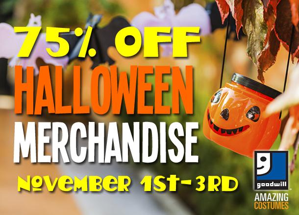 75 percent off all Halloween merchandise