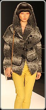 Rebecca Minkoff - goldenrod pants and tweedy-hooded coat