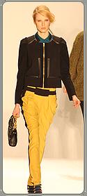 Rebecca Minkoff - gold pants with black stripe