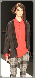 Rebecca Minkoff - plaid pants with black cardigan