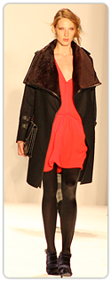 Rebecca Minkoff - red dress with slouch-collard coat