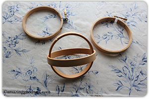 I used two hoops (each hoop has an inside and outside circle) for each sphere a four inch, five inch, and eight inch. Any size will work.