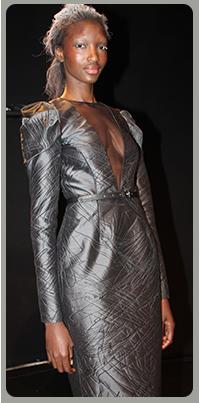 brocade long-sleeved dress