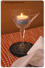 Champagne coupe candleholder