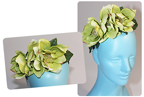 green floral head piece
