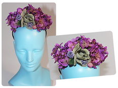 purple floral head piece