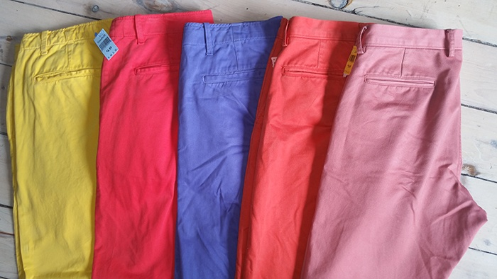 Colorful mens' pants from Goodwill