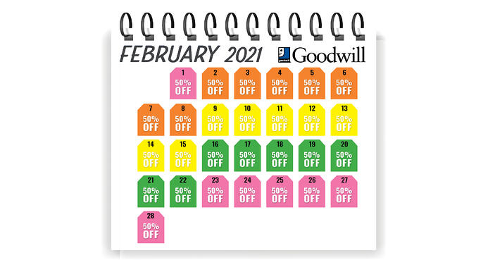Goodwill Sales Calendar 2022.Save 50 On Select Merchandise Every Day With The Goodwill Tag Sale