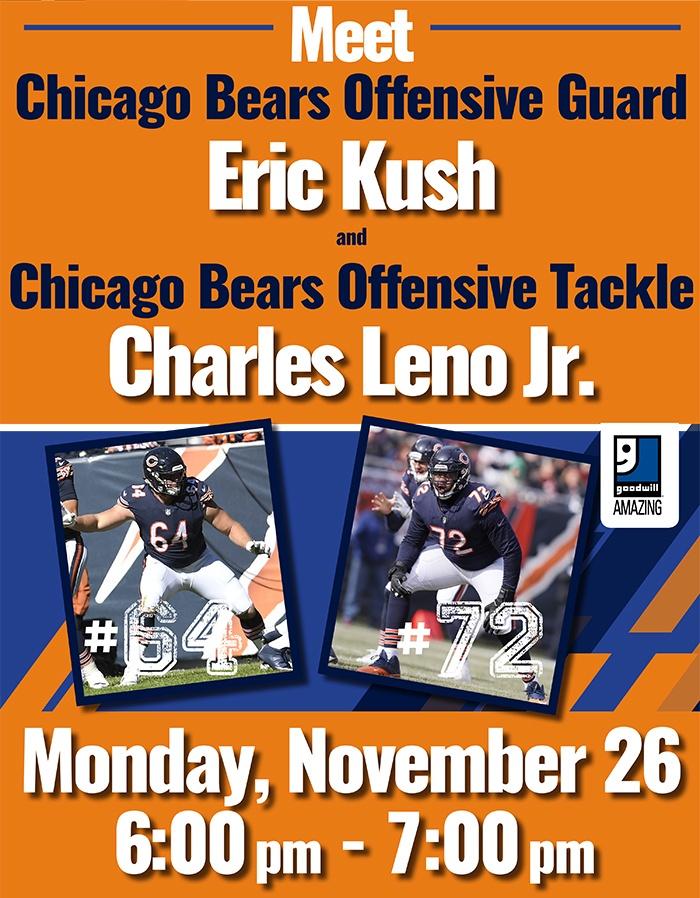 Meet Chicago Bears Eric Kush & Charles Leno Jr. at Goodwill