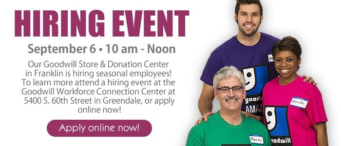 Goodwill in Franklin seeking seasonal employees