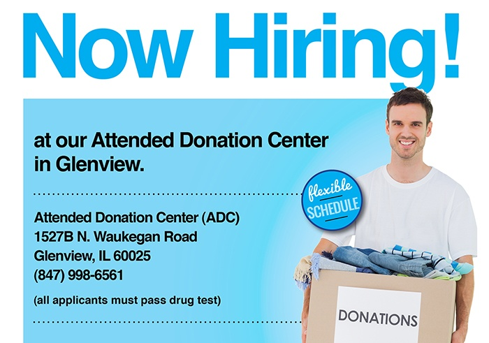Now Hiring at the Goodwill Attended Donation Center in Glenview