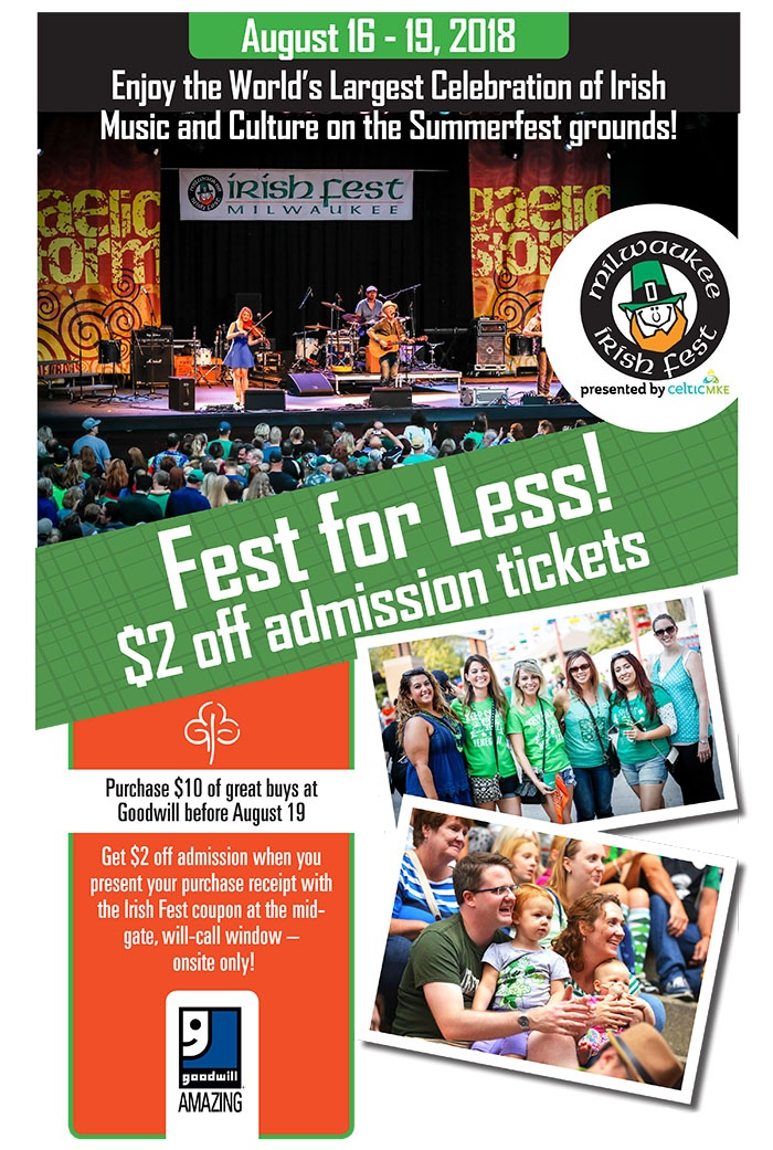 Get $2 Off Irish Fest Tickets by Shopping at Goodwill