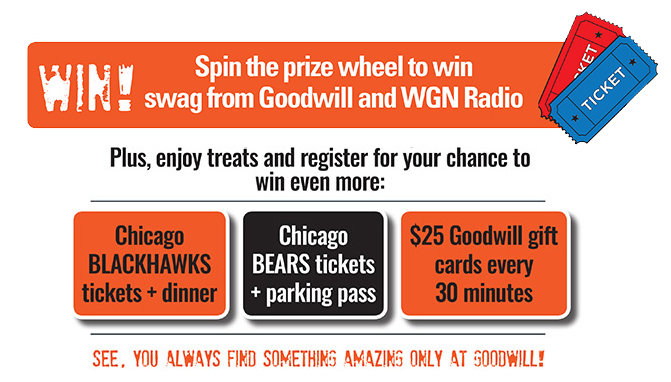 Spin the prize wheel to win swag from Goodwill and WGN radio!