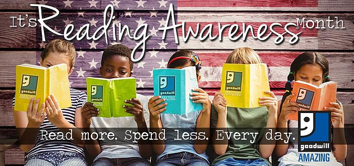 It's Reading Awareness Month - Buy more books at Goodwill!
