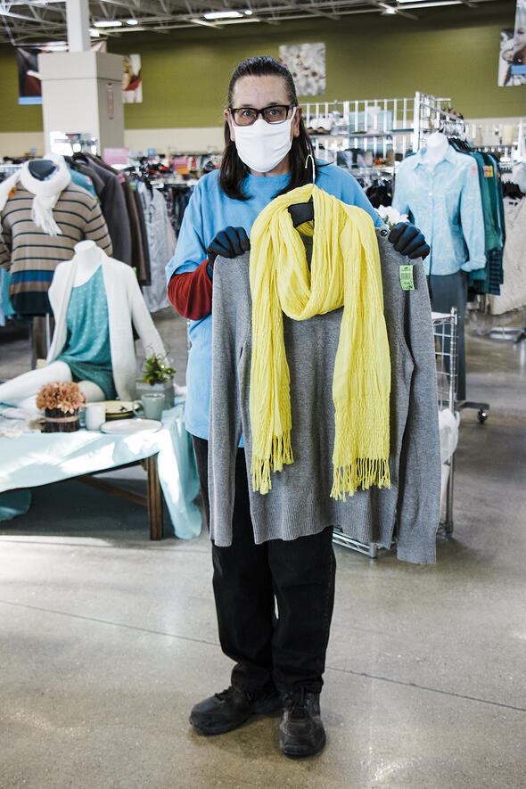 Gray Top with Yellow Scarf 1
