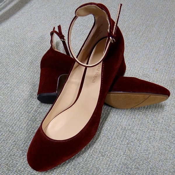 Who What Wear Angelique Microsuede Quarter Strap Pumps in Windsor Wine