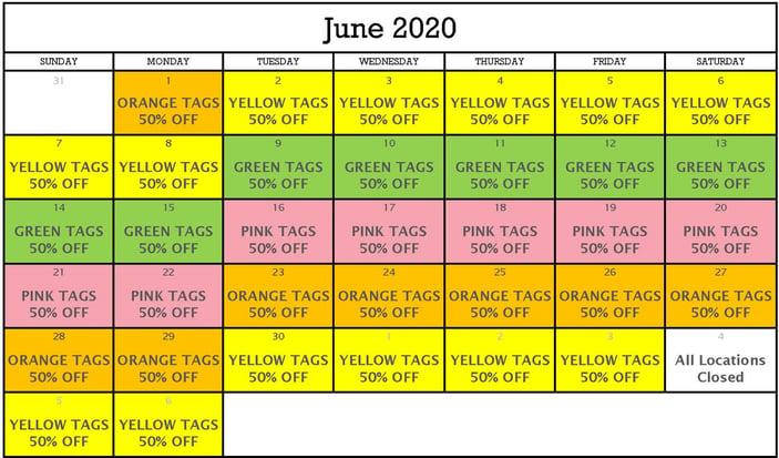 June 2020 Tag Sale