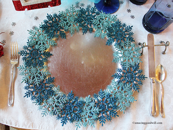 Blue Christmas Table Setting