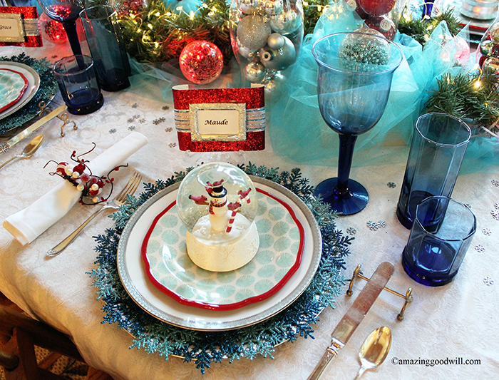 Blue Christmas Table Setting