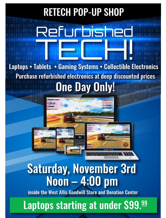 Buy Refurbished Tech at Goodwill ReTech's Pop-up Shop!