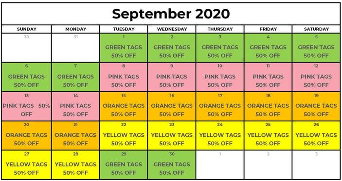 September 2020 Tag Sale
