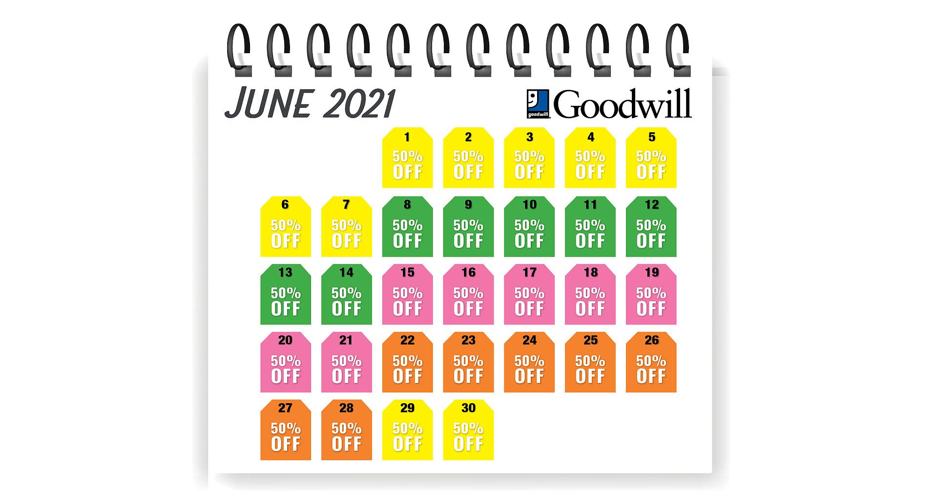 Tag Sale Calendar - June 2021