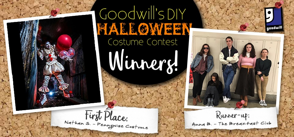 we asked you to show us your crafty side while using items from your local goodwill to create your halloween costume for the 2017 diy halloween costume