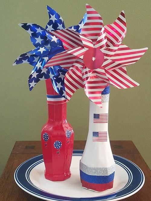 DIY Patriotic Glass Vases