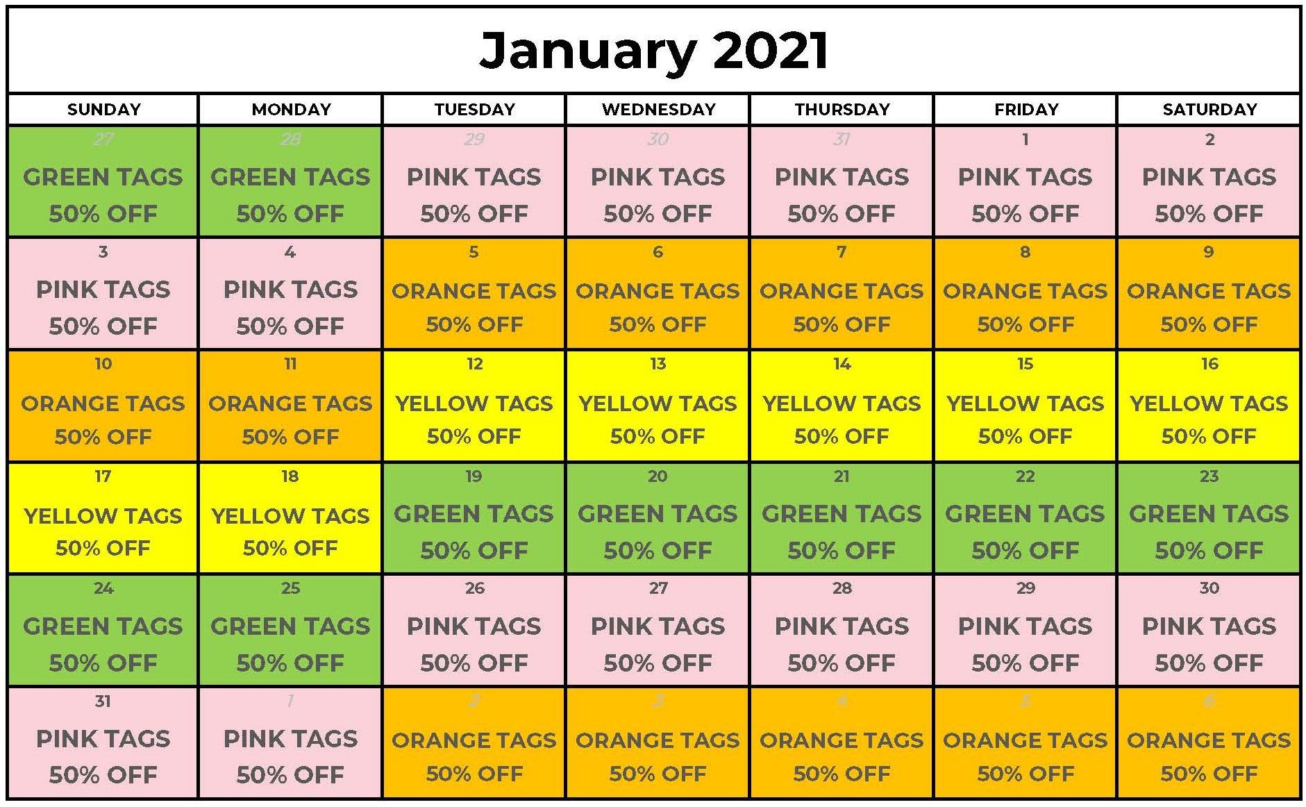 Tag Sale January 2021
